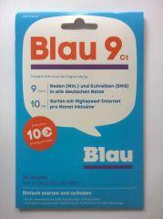 BLAU.DE SIM KARTE PREPAID inkl. 10 Euro Startguthaben und 10MB kostenlosem Datentransfer pro Monat
